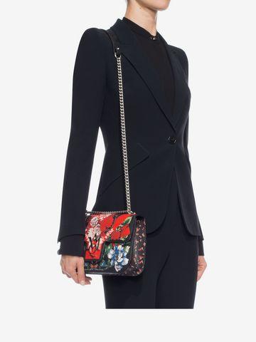 ALEXANDER MCQUEEN Floral Table Cloth Insignia Chain Satchel Shoulder Bag D l