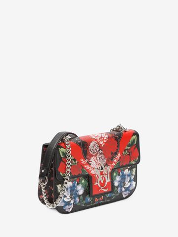 ALEXANDER MCQUEEN Floral Table Cloth Insignia Chain Satchel Shoulder Bag D r