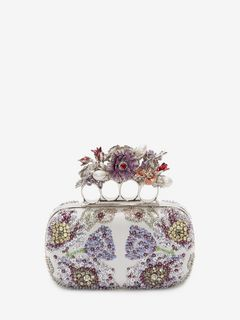 Embroidered flower four-ring short clutch