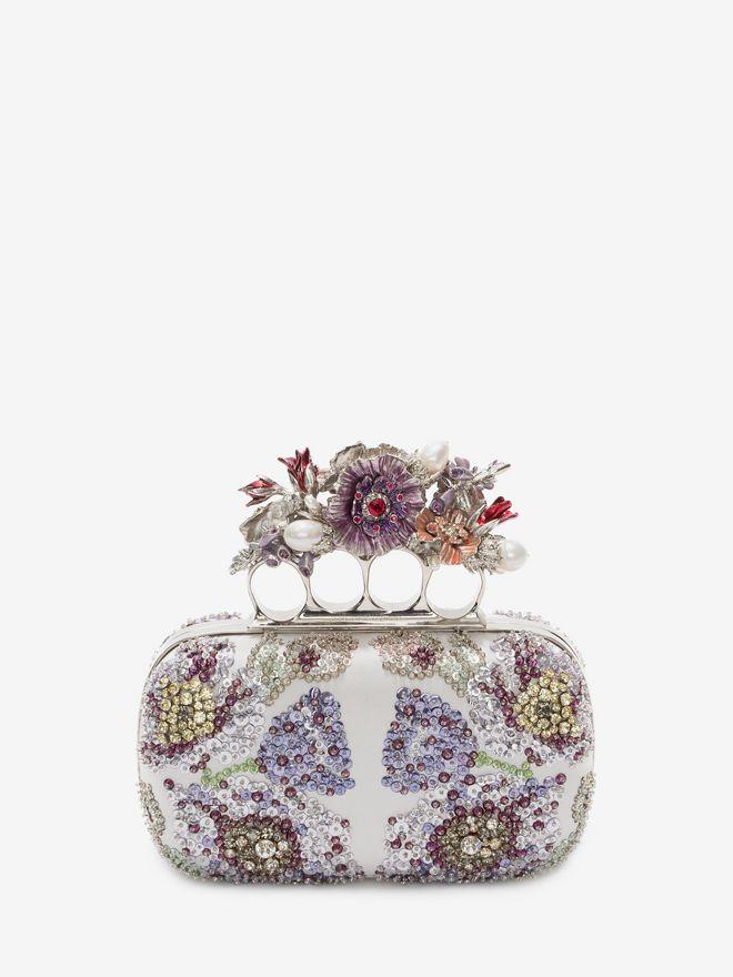 ALEXANDER MCQUEEN Embroidered Flower Four-Ring Short Clutch Clutch D f