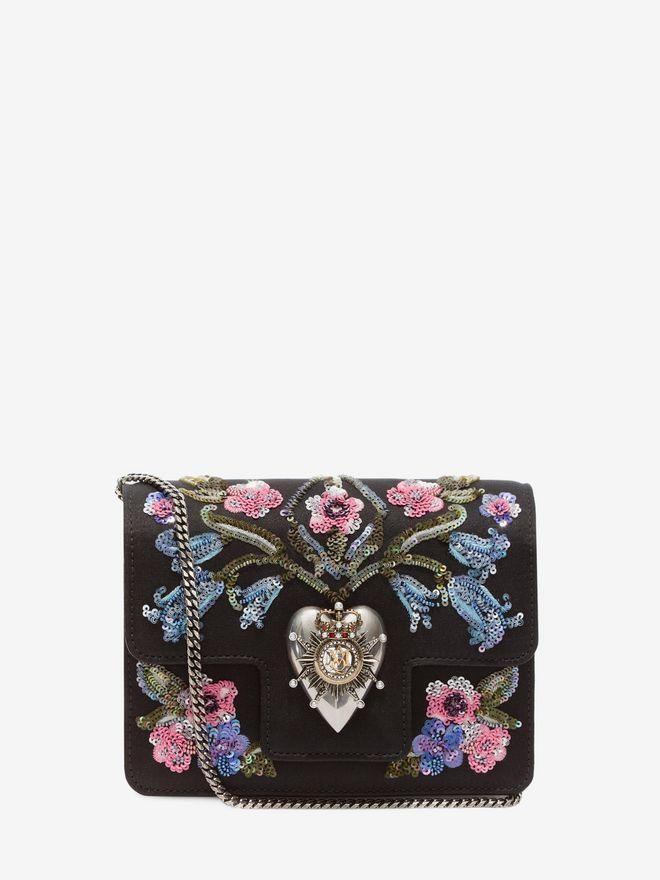 ALEXANDER MCQUEEN Embroidered Heart Mini Chain Satchel Seasonal Shoulder Bags D f