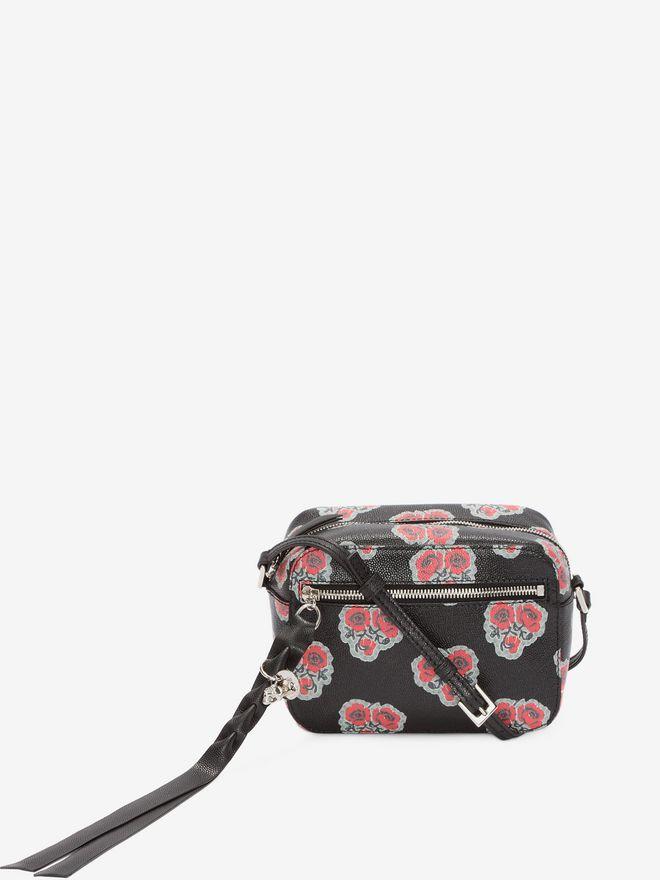 ALEXANDER MCQUEEN Poppies Printed calf leather Skull camera bag CROSSBODY BAGS D a