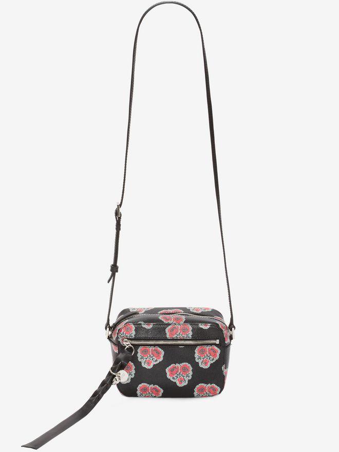 ALEXANDER MCQUEEN Poppies Printed calf leather Skull camera bag CROSSBODY BAGS D f