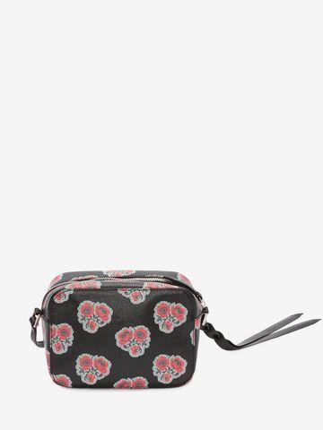 ALEXANDER MCQUEEN Poppies Printed calf leather Skull camera bag CROSSBODY BAGS D d