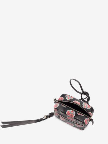 ALEXANDER MCQUEEN Poppies Printed calf leather Skull camera bag CROSSBODY BAGS D e