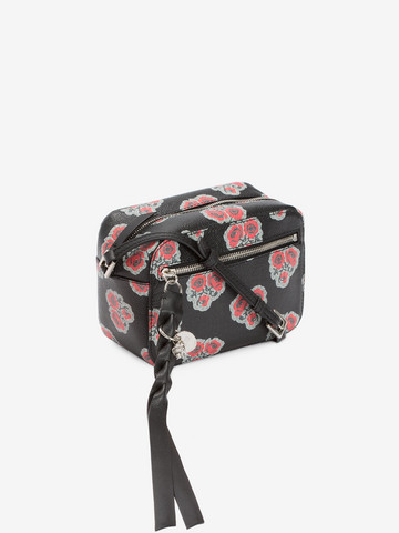 ALEXANDER MCQUEEN Poppies Printed calf leather Skull camera bag CROSSBODY BAGS D r