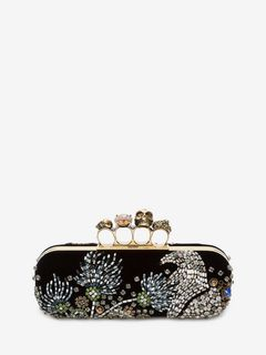 Embroidered Four-Ring Clutch