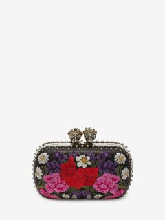 "ALEXANDER MCQUEEN Clutch D Embroidered ""Queen and King"" Skeleton Box Clutch f"