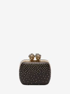 "Studded ""Queen and King"" Skeleton Box Clutch"