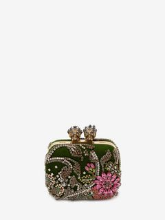 "Embroidered ""Queen and King"" Skeleton Box Clutch"