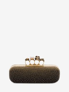 ALEXANDER MCQUEEN Four-Ring Box Clutch D Studded four-ring clutch f