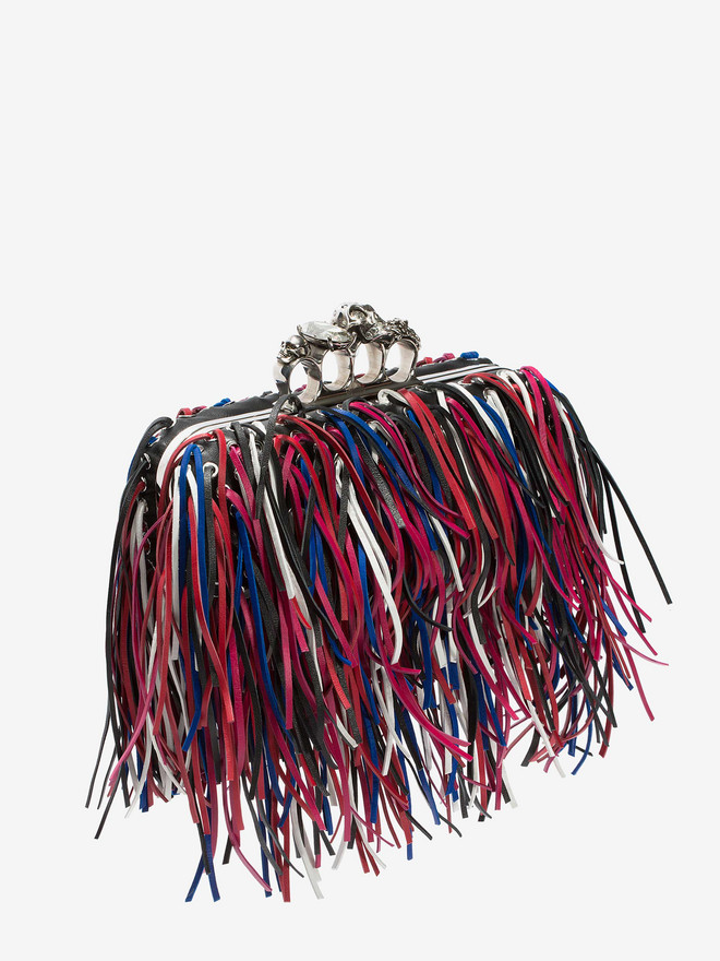 ALEXANDER MCQUEEN Fringed four-ring clutch Four-Ring Box Clutch D r