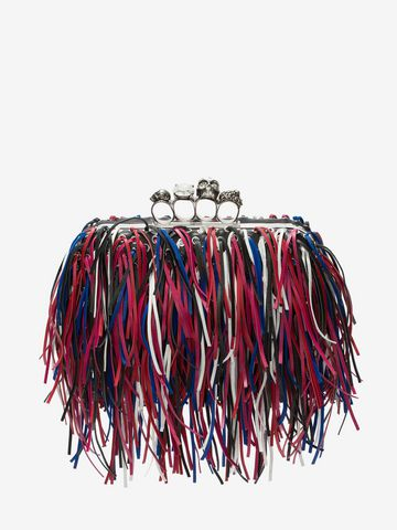 ALEXANDER MCQUEEN Fringed four-ring clutch Four-Ring Box Clutch D f