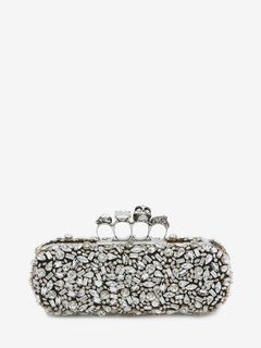 Crystal Skull Four-Ring Box Clutch
