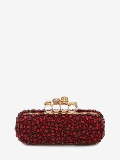 ALEXANDER MCQUEEN Four-Ring Box Clutch D Crystal Skull Four-Ring Box Clutch f