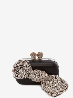 """Queen and King"" Skeleton Box Clutch with Crystal Bow"
