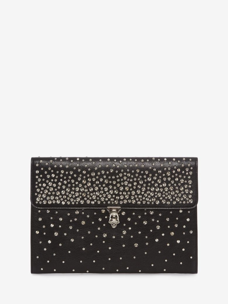 Studded Skull Closure Leather Envelope Clutch - Black