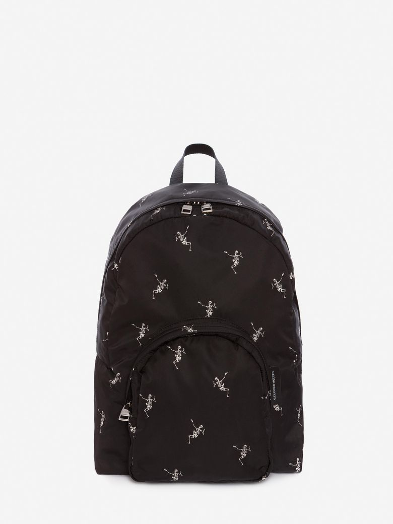 Men'S Small Dancing Skeleton-Print Backpack in Black