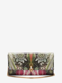 ALEXANDER MCQUEEN Wallet with chain Woman Continental Skull Leather Wallet f