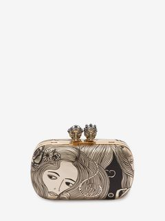 ALEXANDER MCQUEEN QUEEN AND KING CLUTCH Woman Queen and King Classic Skull Clutch f