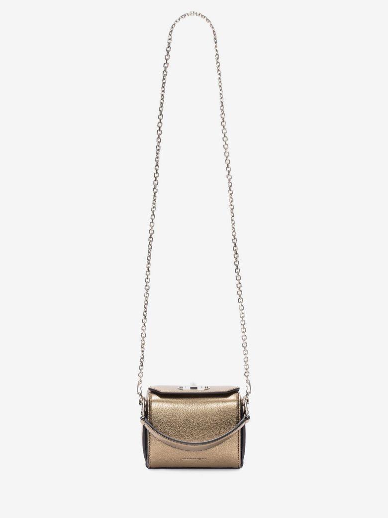 Nano Box Leather Shoulder Bag in Gold