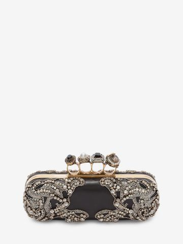 jewelled four ring clutch - Black Alexander McQueen fhCfZKSgXK