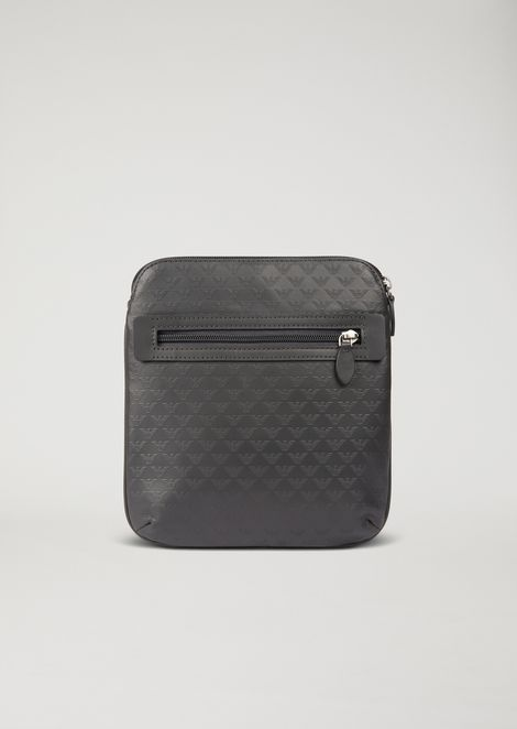 Leather messenger bag with shoulder strap and all-over logo print ... 5d163676d326b