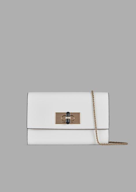 a0ccc86c23 Borgonuovo 11 Leather Wallet Mini Bag With Chain Strap And Twist Lock for  Women | Giorgio Armani