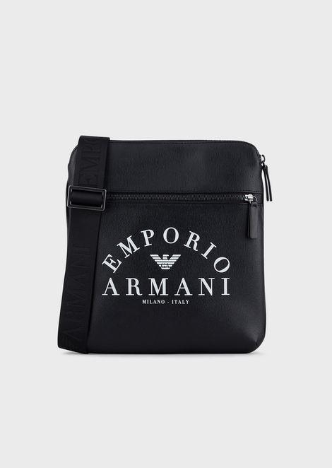 selezione premium 5eb70 666ec Borsa a Tracolla Piatta Con Logo Emporio Armani | Uomo | Emporio Armani