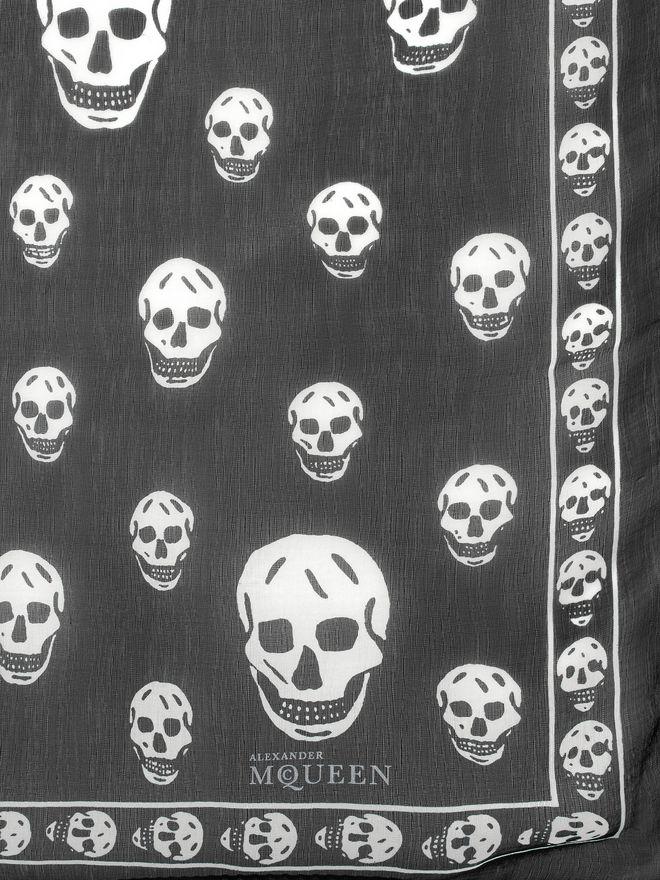 ALEXANDER MCQUEEN Classic Silk Chiffon Skull Scarf Foulards Skull D d