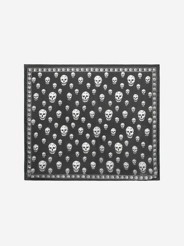 ALEXANDER MCQUEEN Classic Silk Chiffon Skull Scarf Foulards Skull D f