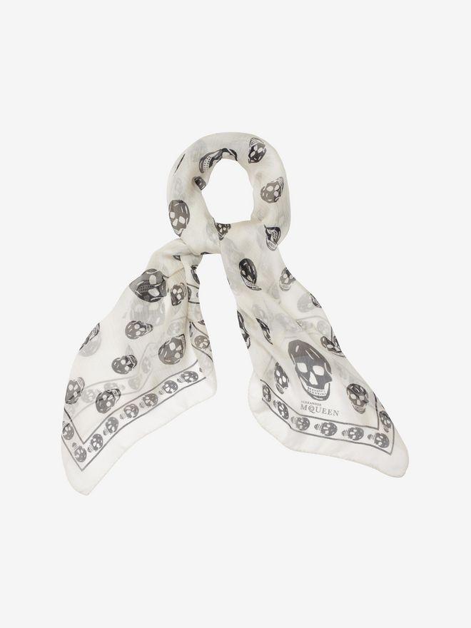 ALEXANDER MCQUEEN Foulard classique imprimé Skull en mousseline de soie Foulard Skull D a
