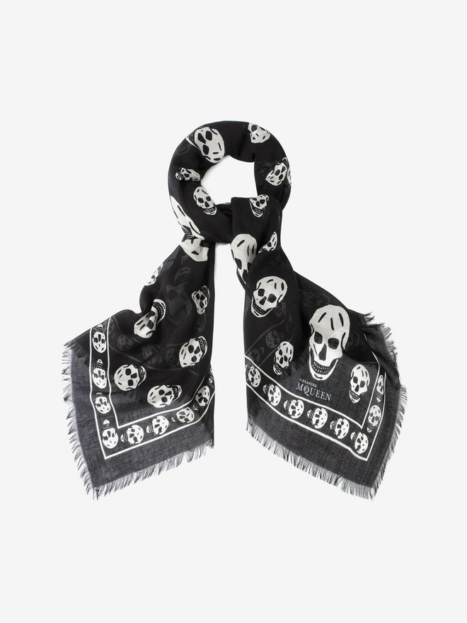 ALEXANDER MCQUEEN Classic Silk Blend Skull Scarf Foulards Skull D r