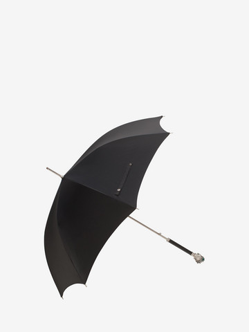 ALEXANDER MCQUEEN Black and Silver Rosin Skull Umbrella Umbrella D r