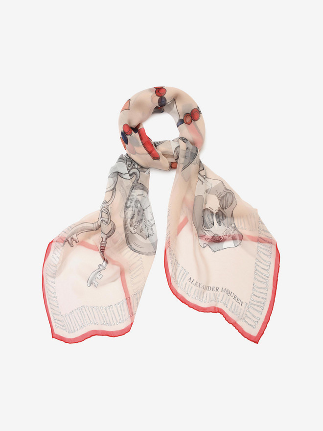 ALEXANDER MCQUEEN Silk Chunky Charms Shawl Silk Fashion Scarf D r