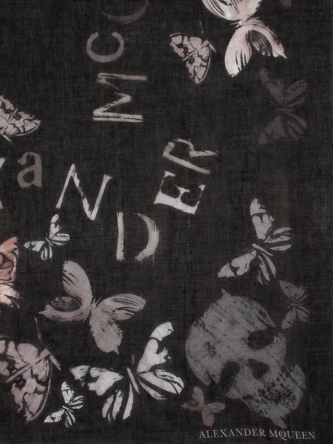 ALEXANDER MCQUEEN Bleached Butterfly Scarf Fashion Scarf D d