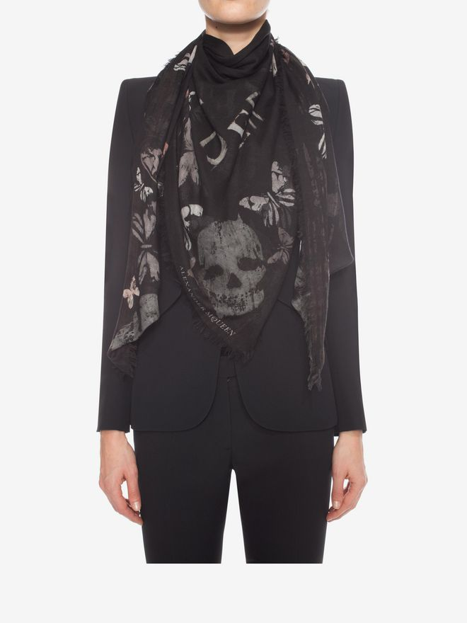 ALEXANDER MCQUEEN Bleached Butterfly Scarf Fashion Scarf D e