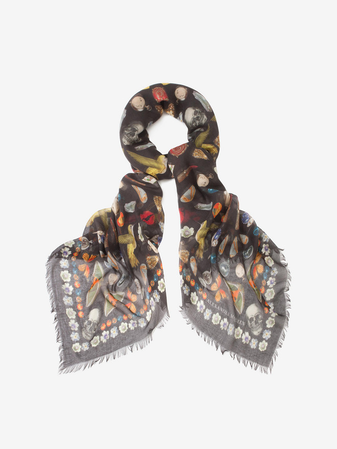 ALEXANDER MCQUEEN Obsessions Pashmina Scarf Silk Fashion Scarf D r