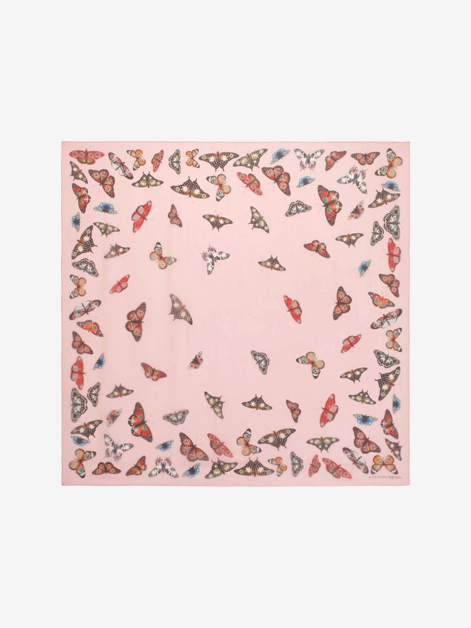 ALEXANDER MCQUEEN Bejeweled Butterfly Scarf Silk Fashion Scarf D f