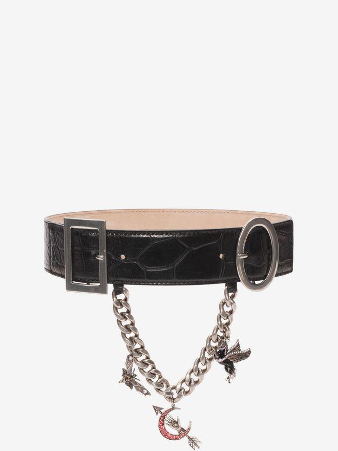 ALEXANDER MCQUEEN Embossed Leather Charm Belt Belt D f
