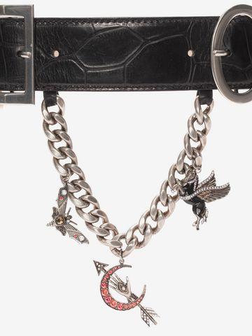 ALEXANDER MCQUEEN Embossed Leather Charm Belt Belt D d