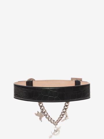 ALEXANDER MCQUEEN Embossed Leather Charm Belt Belt D r