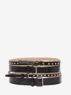 Multi-strap studded belt