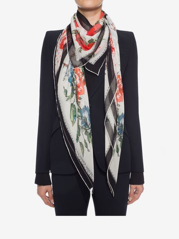 ALEXANDER MCQUEEN Floral Tablecloth Scarf Seasonal Scarf D e