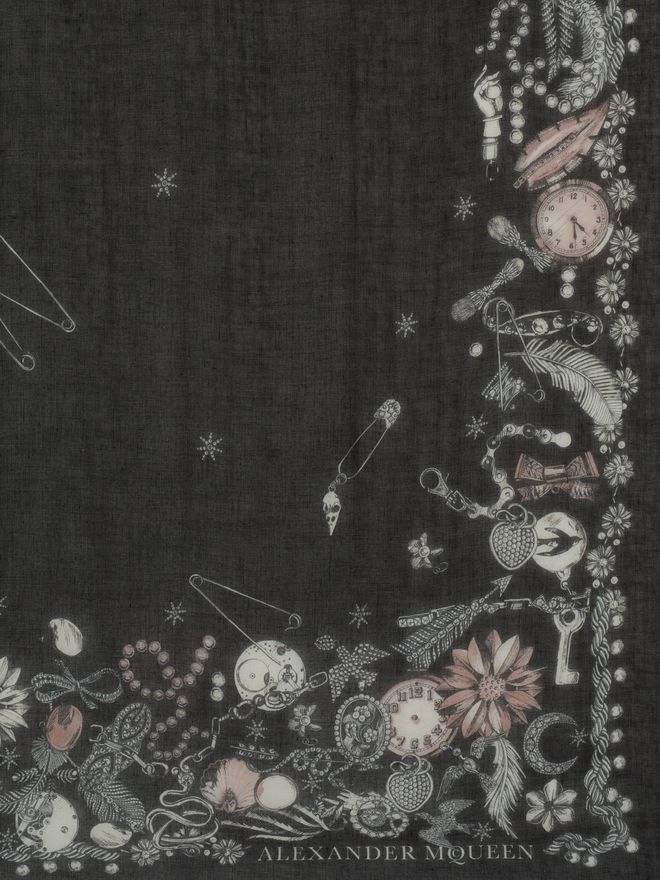 "ALEXANDER MCQUEEN ""Queen and King"" Skeleton Scarf Seasonal Scarf Woman d"