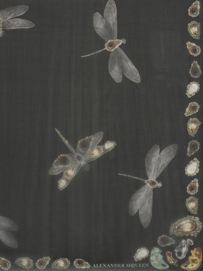 ALEXANDER MCQUEEN Dragonfly Scarf Seasonal Scarf D d