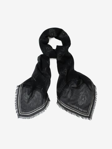 ALEXANDER MCQUEEN Skull Feather Scarf Fashion Scarf U r