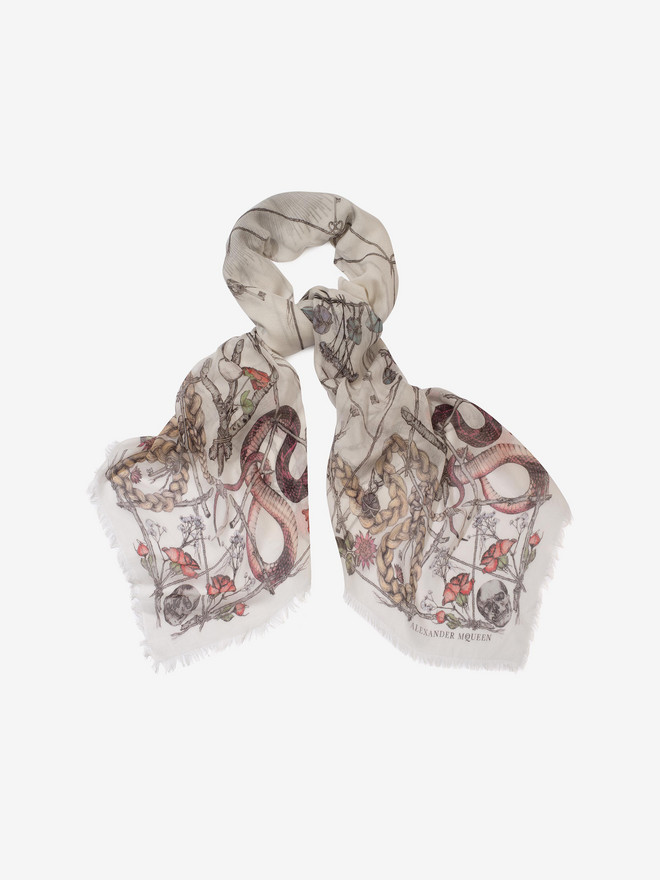 ALEXANDER MCQUEEN Devil's Trap Shawl Pashmina Seasonal Scarf Woman r