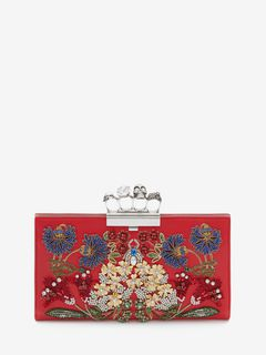 """Jeweled Garden"" Skull Four-Ring Flat Pouch"