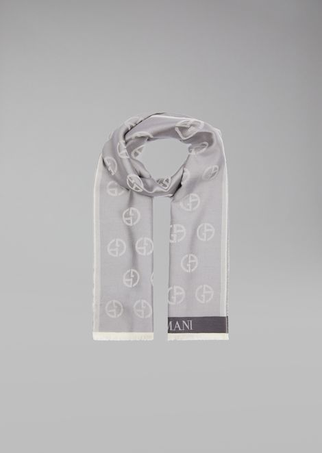 Silk And Cotton Scarf With Logos for Men | Giorgio Armani | Tuggl